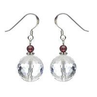 Ohrringe Ohrhänger aus Bergkristall & Granat, 925 Silberhaken, Ohrschmuck Damen