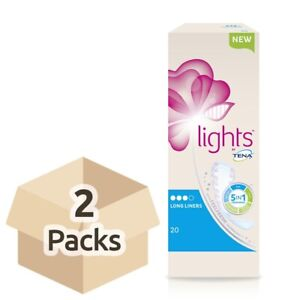 2x Lights by TENA - Long Liners - Pack of 20 - Pads For Women - 100ml