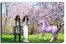 GREETING CARD Couple, Spring Magnolia Trees, Shabby Chic, Lavender Unicorn