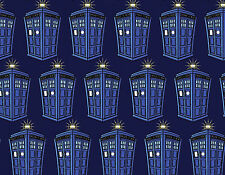 FAT QUARTER BBC DOCTOR WHO COTTON FABRIC POLICE PUBLIC CALL BOX SPRINGS CREATIVE