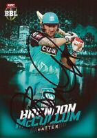✺Signed✺ 2017 2018 BRISBANE HEAT Cricket Card BRENDON MCCULLUM Big Bash League