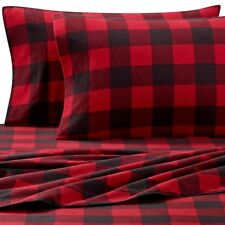 Queen Buffalo Plaid Heavyweight Flannel Sheet Set in Red Black New