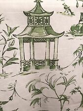 "CHINOISERIE PAGODA FISHERMAN IN GREEN COTTON FABRIC 1 Yd., 54""w"