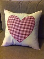Shabby Chic Calico cotton Red & White Gingham Heart Cushion Cover!! Bargain!