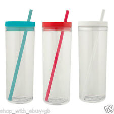 590ml PLASTIC TUMBLER & STRAW FOR Smoothie Juice Iced Coffee BPA FREE TRAVEL CUP