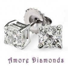 1.62 ct H VVS2 natural princess cut diamond 4 prong stud earrings 18k white gold