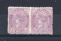 Australia - Queensland 1879-81 1s MLH strip of 2