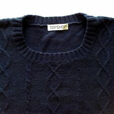 Blue Short Sleeve TOPSHOP knitted jumper with cable pattern Size 12 / E40