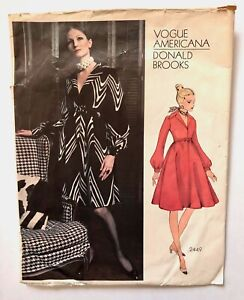 Vintage 1970s DONALD BROOKS Vogue Americana Sewing Pattern Dress WITH LABEL