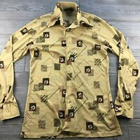 * Men's Vintage1970s Career Club Status Casuals Brown Yellow Floral Shirt Large