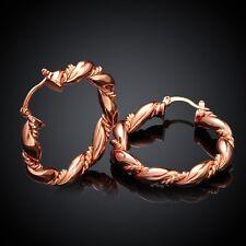 18K Rose Gold Latch Back Hoop Bali Earrings L120