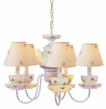 5 Light Antique White Tea Cup Chandelier, New! Ceiling Fixture Kids Pink