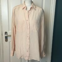 vintage verse uk size 22 pale pink silk oversized plain shirt/blouse