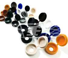 SMALL & LARGE PLASTIC HINGED SCREW COVER CAPS BLACK YELLOW WHITE GREY BROWN BLUE