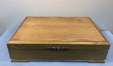 """Oak Flatware Storage Case Box Anti Tarnish Felt Lined 17"""" x 11 1/2"""" x 4 1/2"""""""
