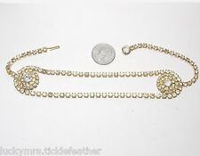 Unusual Rhinestone Choker Necklace, Center Loop & Wheel Design, Striking! 14""