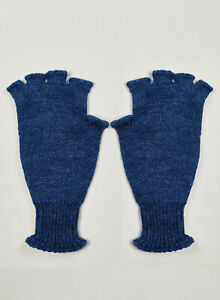 Nigel Cabourn Wool Fingerless Gloves in Navy Blue