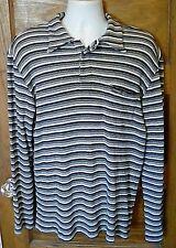 EUC Guess Jeans USA Made Knit long Sleeve Shirt Large Striped Black White Gray