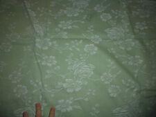 ancien tissu textile coupon toile matelas coutil fond vert fleur rose 180x132 cm