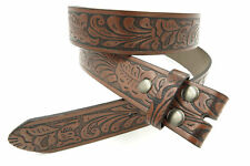 Brown Western Floral Embossed Leather Snap Buckle Belt Strap Size 42 Waist