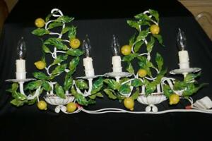 TERRIFIC PAIR VINTAGE ITALIAN TOLE LEMON TREE 2 LIGHT WALL SCONCES ELECTRIC