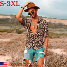 Mens Leisure Leopard print Shirts Casual T-shirt Shorts Sleeve Tops Summer s-3xl