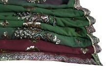 Vintage Dupatta Long Scarf Beaded Hijab bridal Dual Shade lace all over Stole