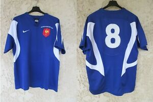 Maillot rugby QUINZE de FRANCE All-Blacks 2007 NIKE CHABAL n°8 vintage shirt XL