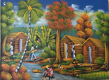 Vintage Oil Painting Hatian Carribean Tropical Landscape Artist Signed Folk