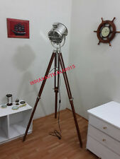 Vintage Floor Searchlight With Brown Wood Tripod Stand Floor Lamp Spotlight