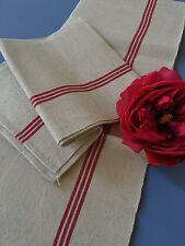 Torchons Métis Double liteaux rouges Linge ancien 738/ Lot C