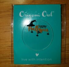 """- large, clear, brand new Origami Owl """"Happy Halloween"""" plate"""