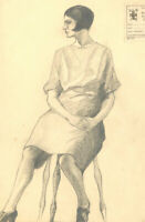 S. Barnes Robson (1900-1973) - Early 20th Century Charcoal Drawing, Seated Lady