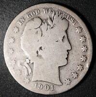 1901-S BARBER HALF DOLLAR - VG VERY GOOD (#A)