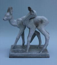 Karlsruher Majolika zwei Rehe Bambis Keramik-Tierfigur - Entwurf Else Bach