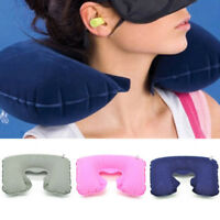 Portable Inflatable Travel Pillow Air Cushion Neck Rest U-Shaped For Flight/Car