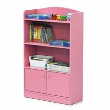 Pink 3 Shelf Bookcase Wooden Open Bookshelf Tier Storage Display Cabinet Decor