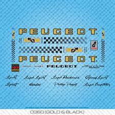 PEUGEOT px/py10 Bicicletta Decalcomanie-Transfers-adesivi-Gold & Black-Set 360