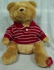 "Aeropostale TAN TEDDY BEAR IN RED POLO SHIRT 12"" Plush STUFFED ANIMAL Toy"