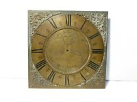 18thC Engraved Wm EMERTON WOOTTON  Square Brass Long Case Clock Dial ONLY