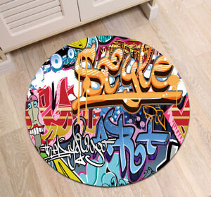 Creative Hip-hop Graffiti Art Non-slip Round Rug Room Floor Yoga Carpet Bath Mat