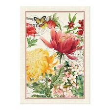 """Michel Design Works """"Morning Blossoms"""" Flowers Kitchen Towel Cotton Hanging Tab"""