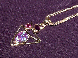 Pendant Copper Turquoise +2 Amethyst, with Chain Silver Plated, 3,7g 24x19x5mm
