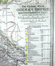 Original 1902 Map of The SW Part of The German Empire by The Century Company