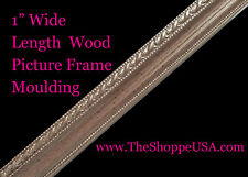 """18' Imported 1"""" Wide English Silver Ornate Wood Picture Frame Moulding"""