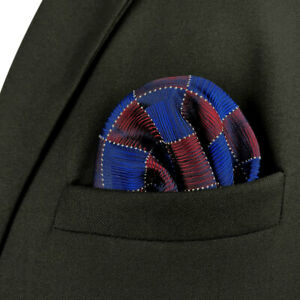 S&W SHLAX&WING Pocket Squares for Men Blue Burgundy Red Checkered