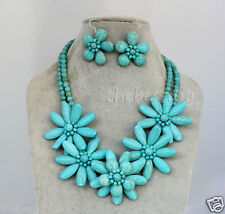 handmade Turquoise flower necklace Earrings set  Woman Jewelry Christmas gift