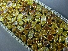 GIA LARGE 57.49CT MULTI COLOR DIAMOND 18KT 2 TONE GOLD CLUSTER TENNIS BRACELET
