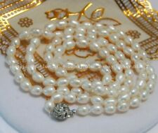 "Long 32"" 8-9mm Natural White Rice Akoya Cultured Pearl Hand Knotted Necklace"