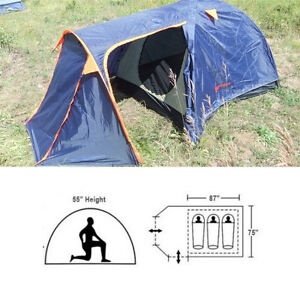 Lightweight 3 Adult 7.25 x 6.25 Camping Tent with Closeable Vestibule Rain Fly